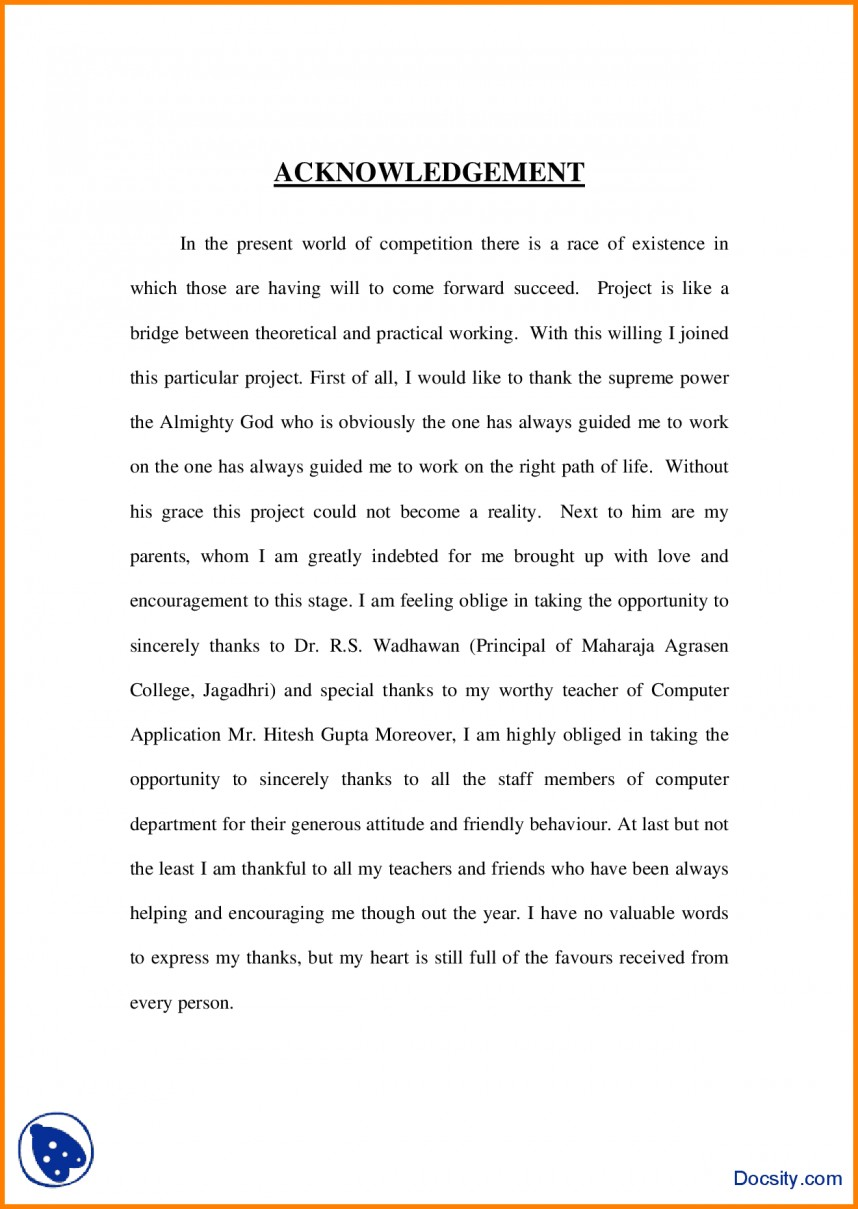 001 Acknowledgement For Research Paper Doc Staggering Sample In