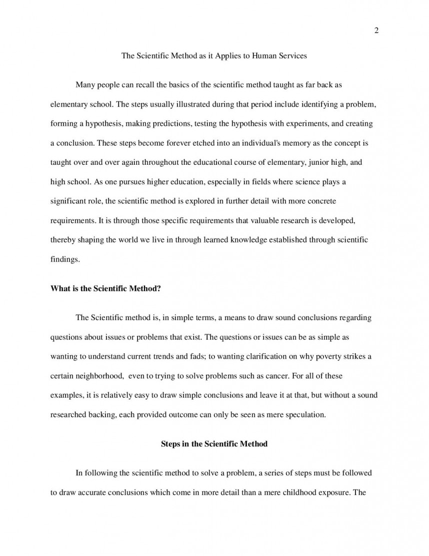 Example Of A Research Paper Using The Scientific Method