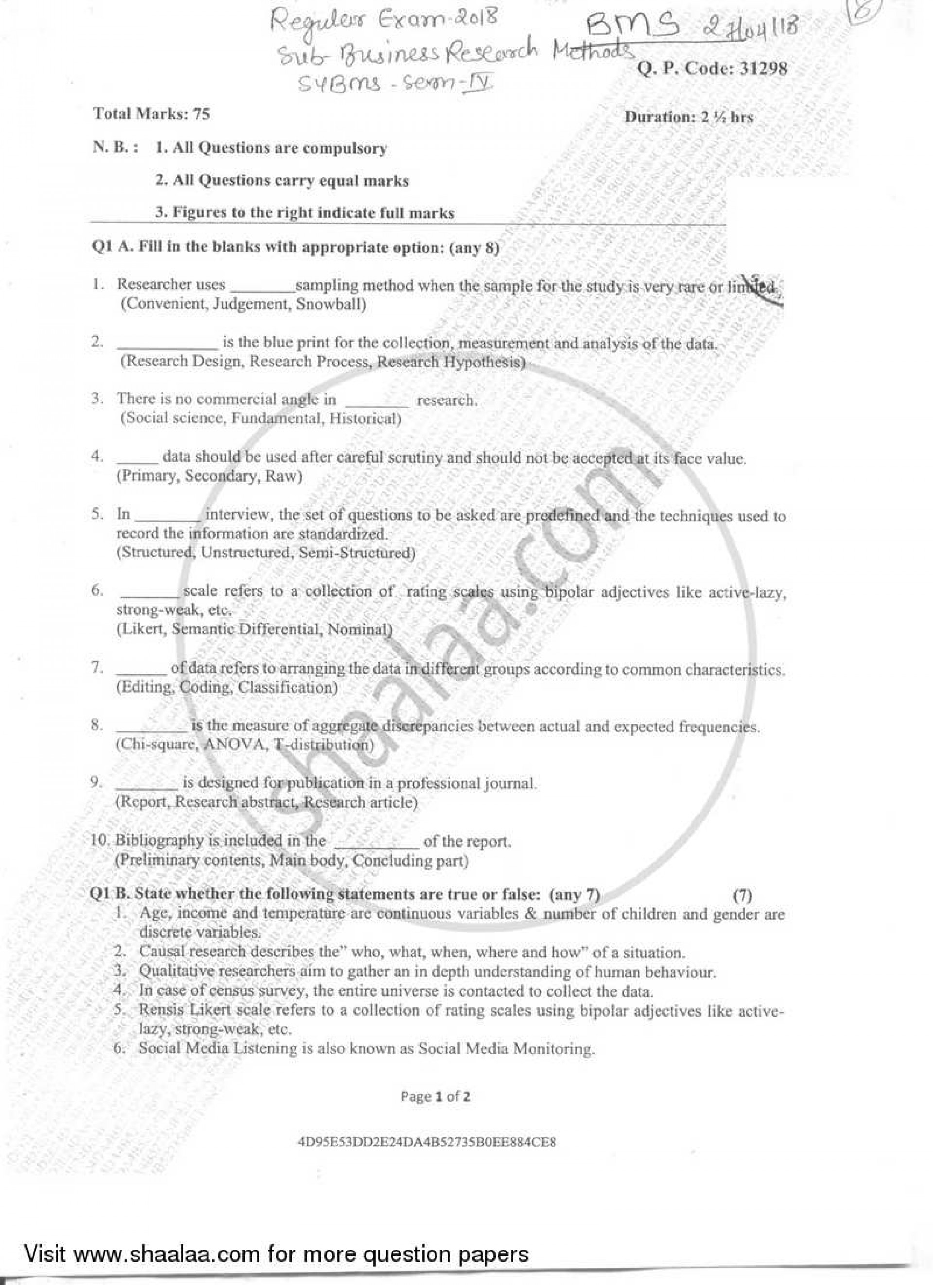 001 Business Research Methods Question Paper University Of Mumbai Bachelor Bms Semester 2018 273366f2e5ebf44fa9f053e9300512123 Stupendous 2017 1920