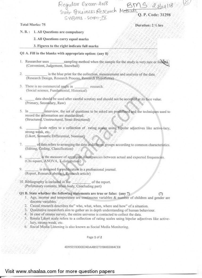 001 Business Research Methods Question Paper University Of Mumbai Bachelor Bms Semester 2018 273366f2e5ebf44fa9f053e9300512123 Stupendous 2017