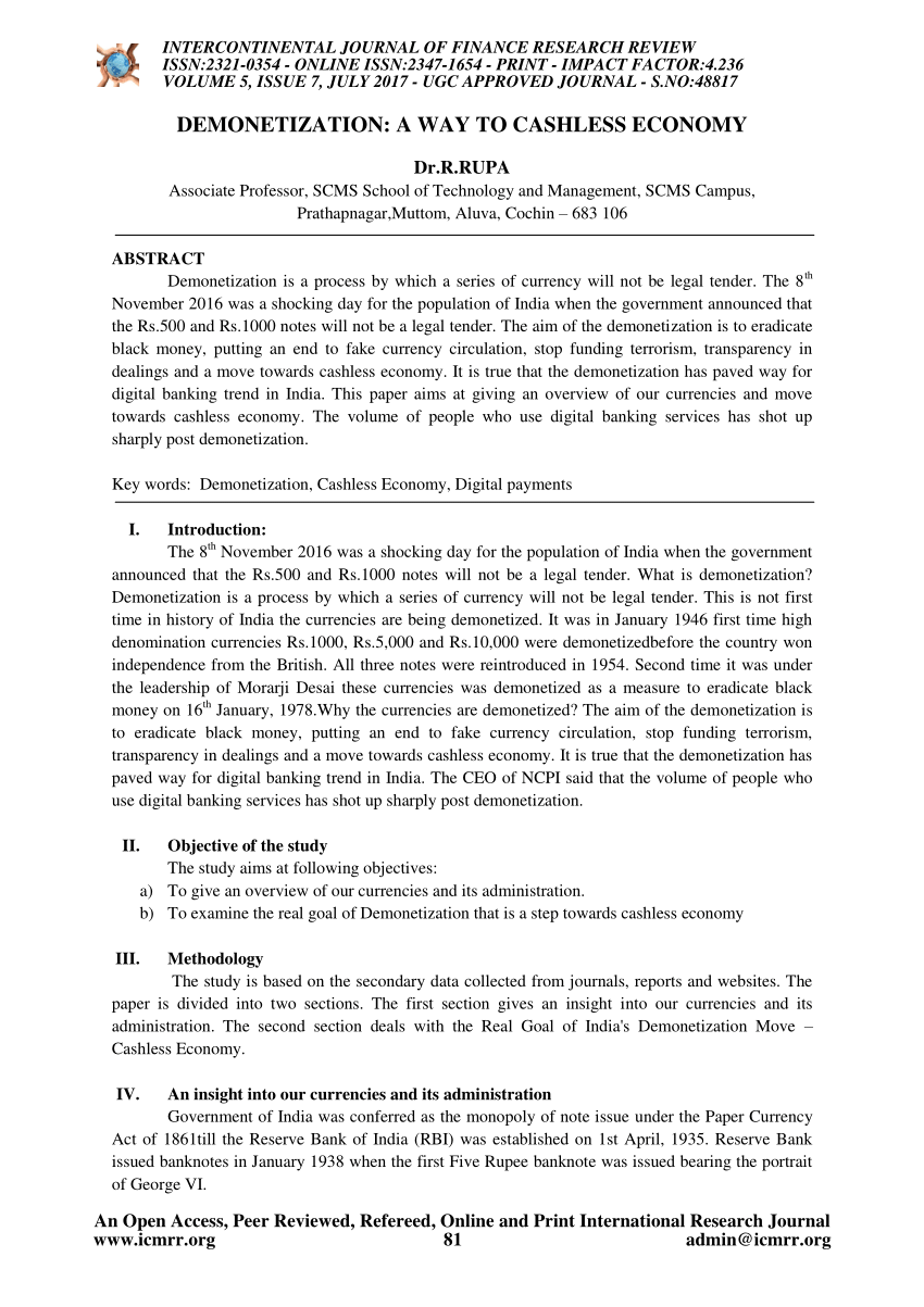 001 Cashless Economy Research Paper Frightening Papers Pdf Cash To Full