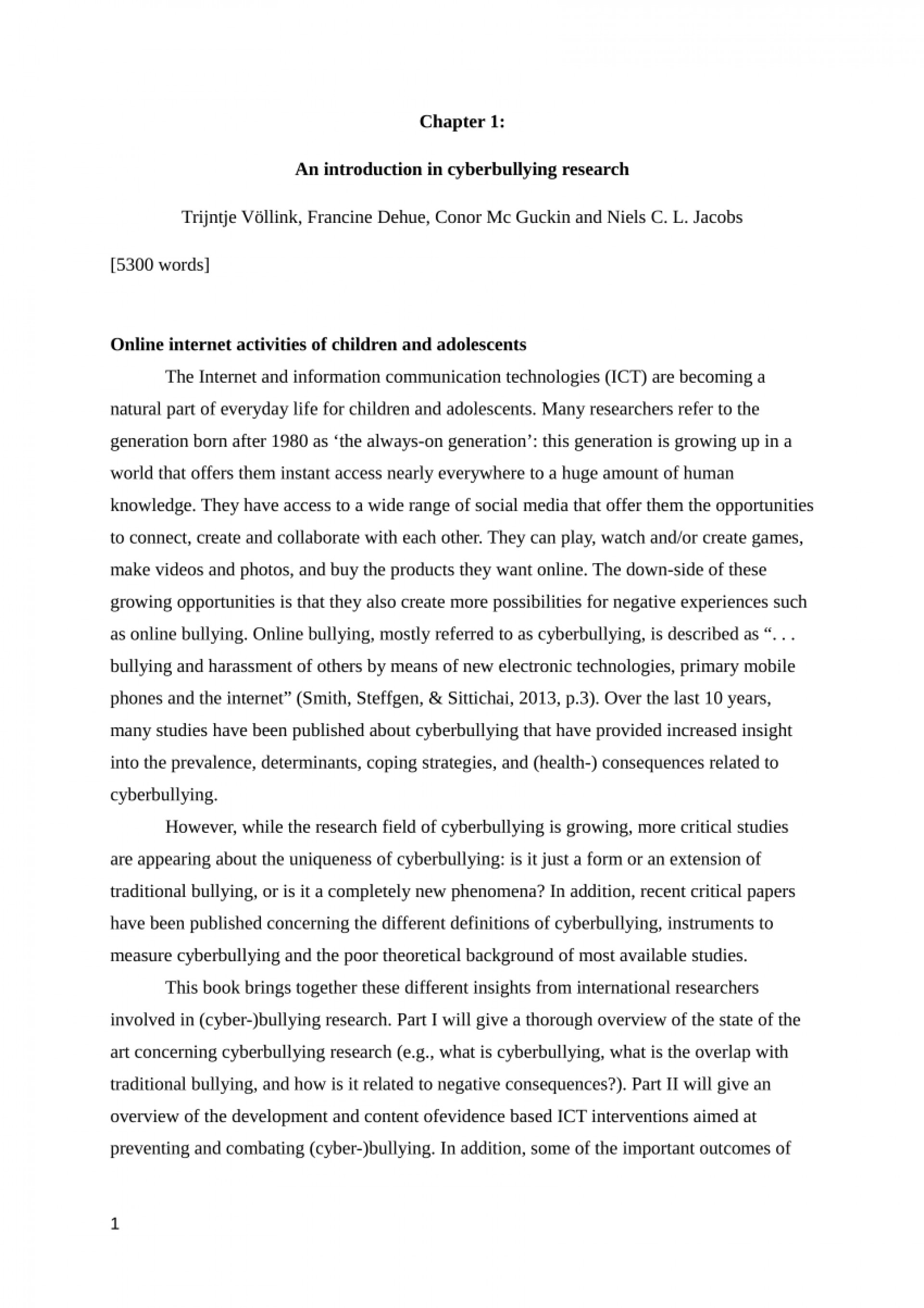 001 Cyberbullying Research Essay Paper Sensational Titles Tagalog Thesis 1920