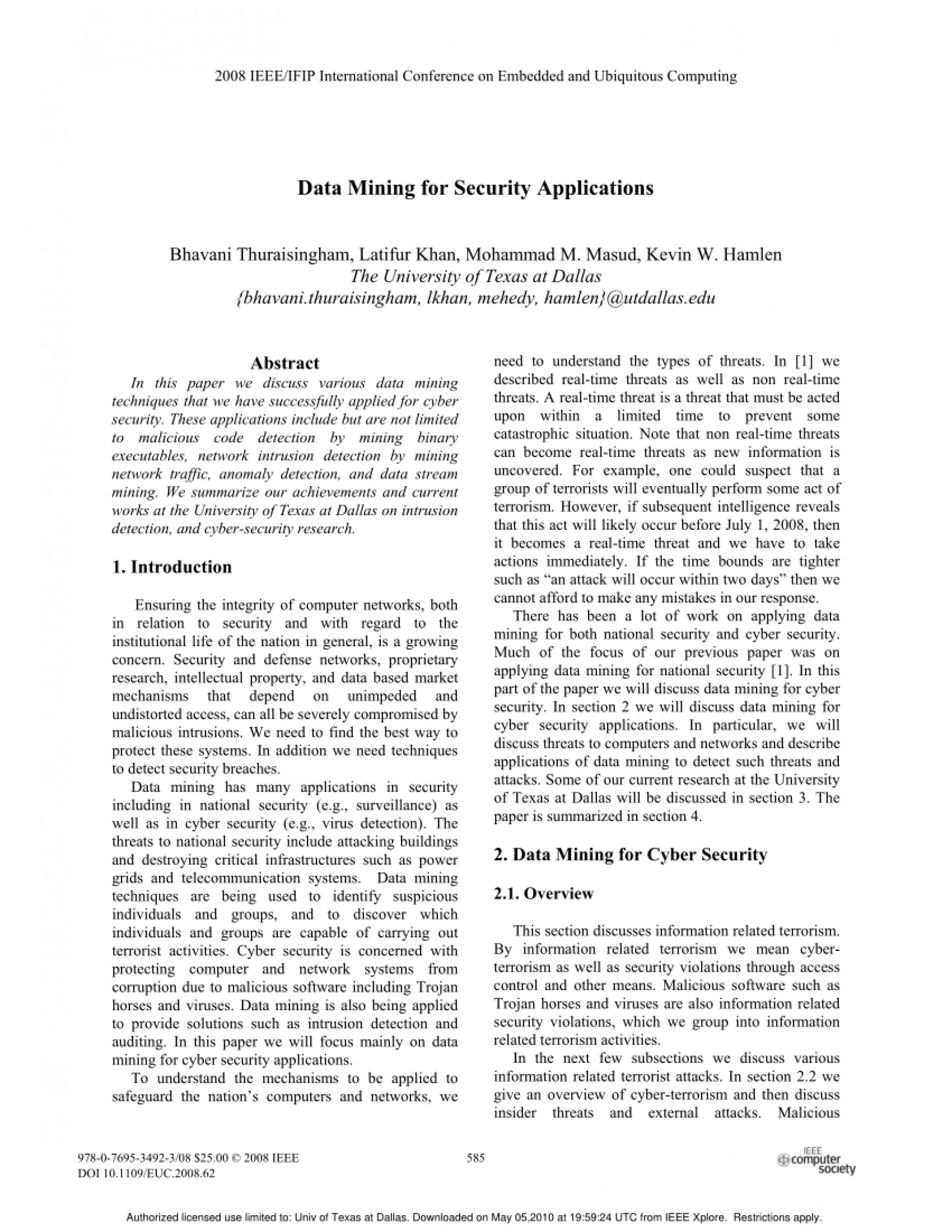 001 Database Security Research Paper Ieee Unforgettable 1920
