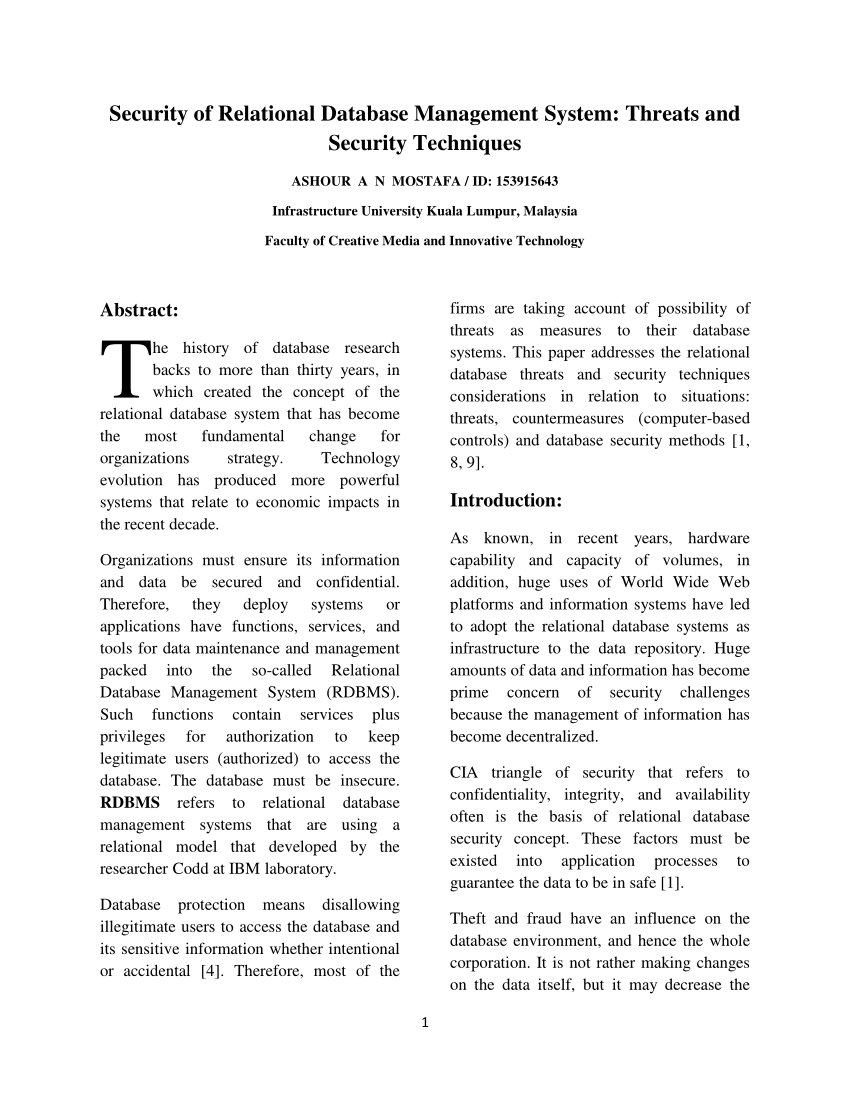 001 Database Security Research Paper Striking - Draft Papers Pdf Related Full