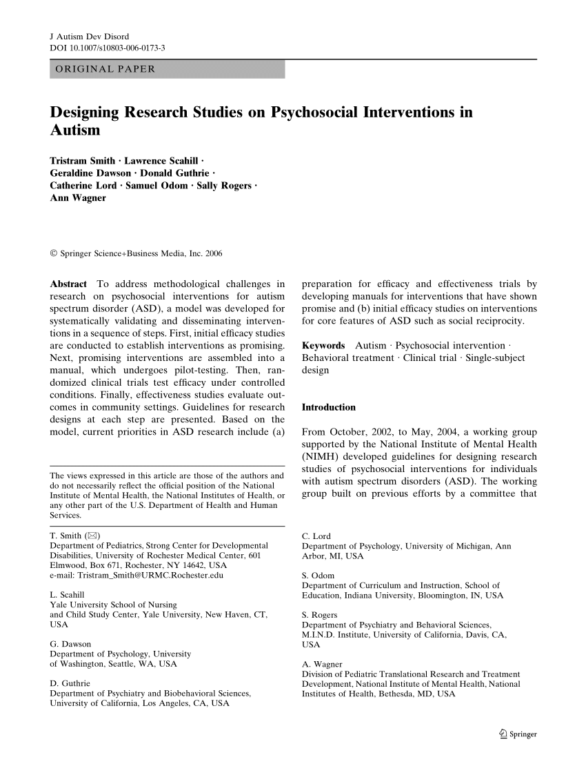 001 Designing Research Studies On Psychosocial Interventions In Autism Paper Breathtaking Full