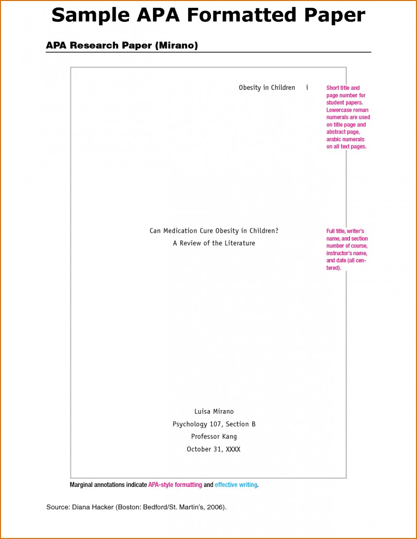 001 Example Cover Page For Research Paper Apa Style Template Unique Sample Title Format