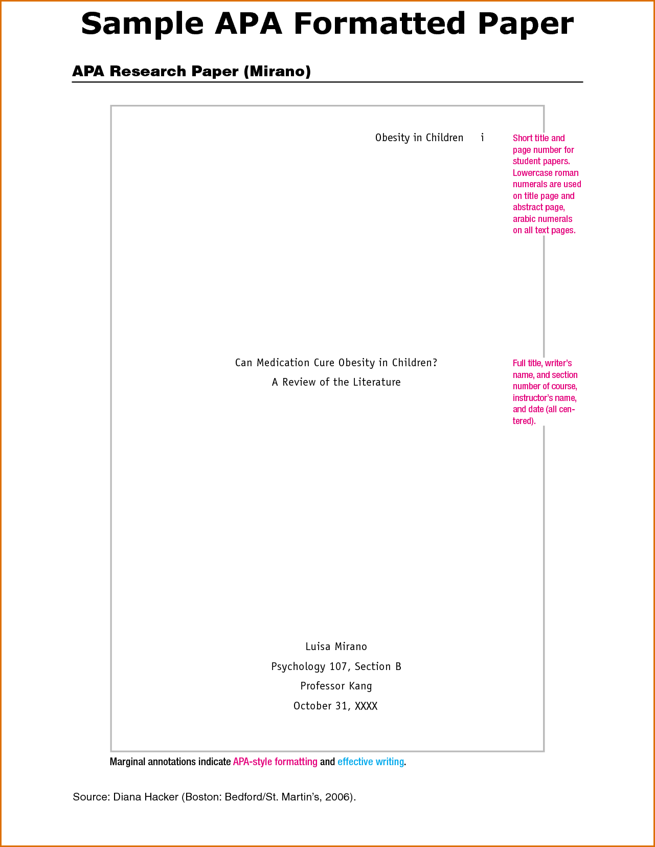 001 Example Cover Page For Research Paper Apa Style Template Unique Sample Title Format Full
