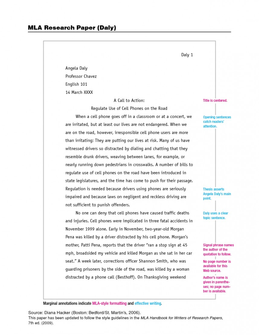 001 Example Of Mla Research Paper Format Imposing With Cover Page Footnotes Sample 868