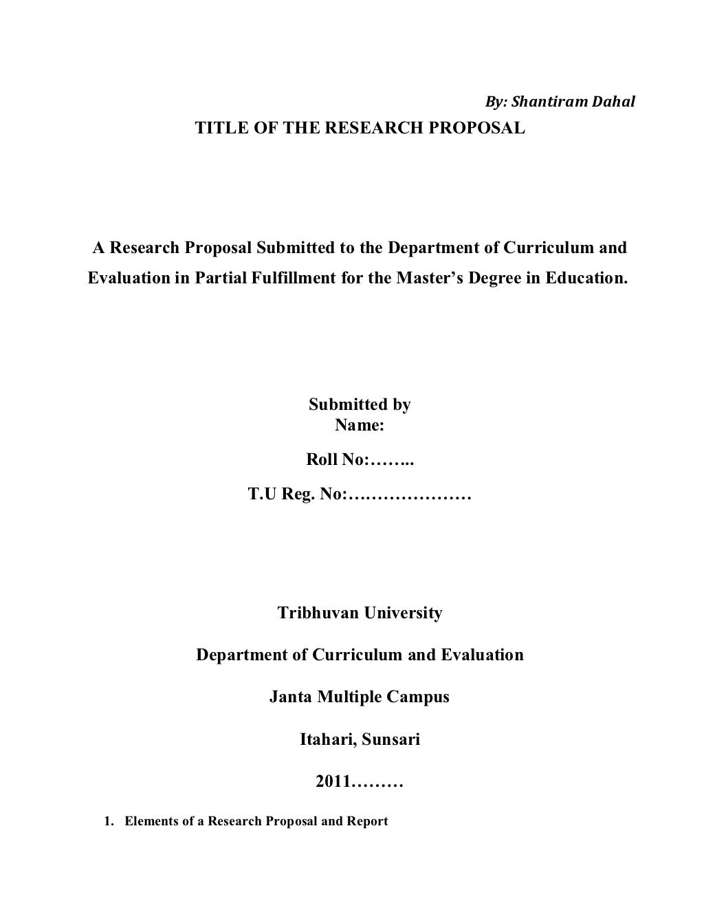 001 Example Of Research Proposal Paper In Education Impressive Full