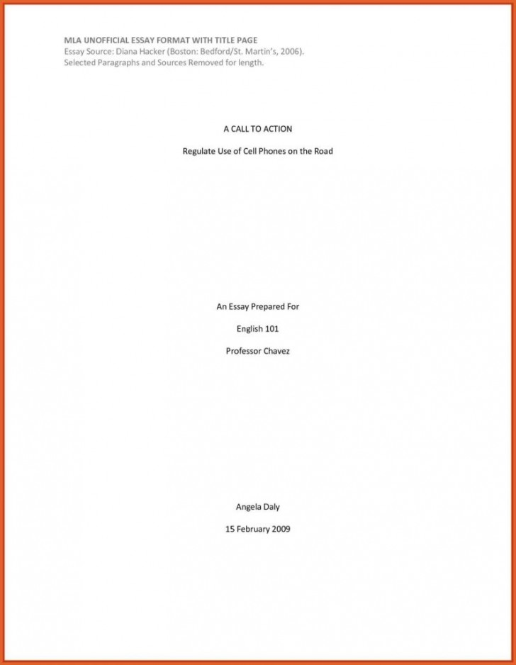 Mla thesis title page