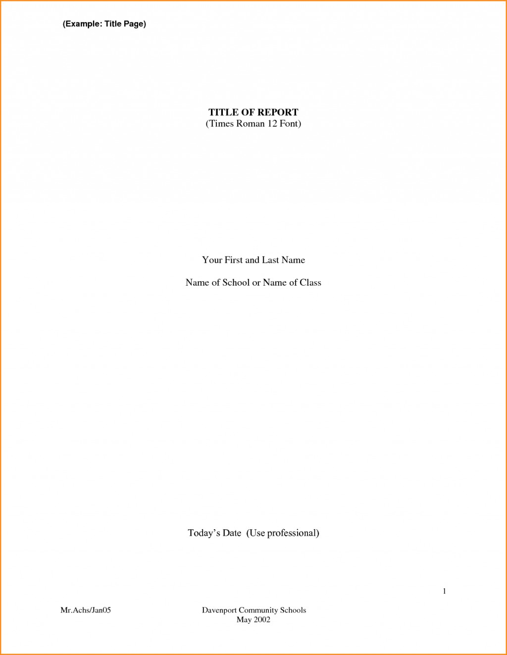 001 Front Page Format For Research Paper Of Fantastic Sample Large