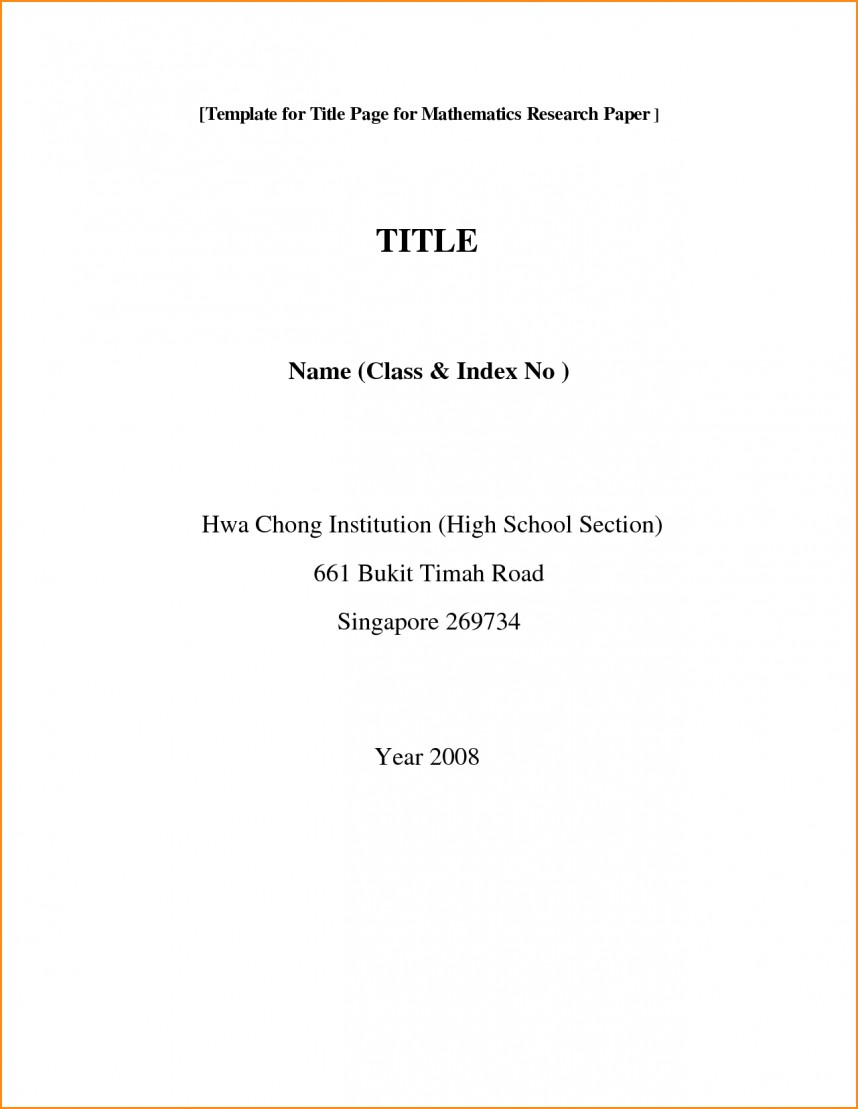 001 Front Page Of Research Paper Format Rare Cover First Mla Template Chicago Style 868