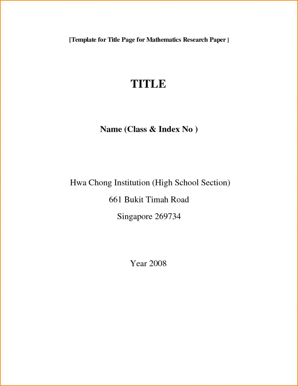 001 Front Page Of Research Paper Format Rare Cover First Mla Template Chicago Style 960