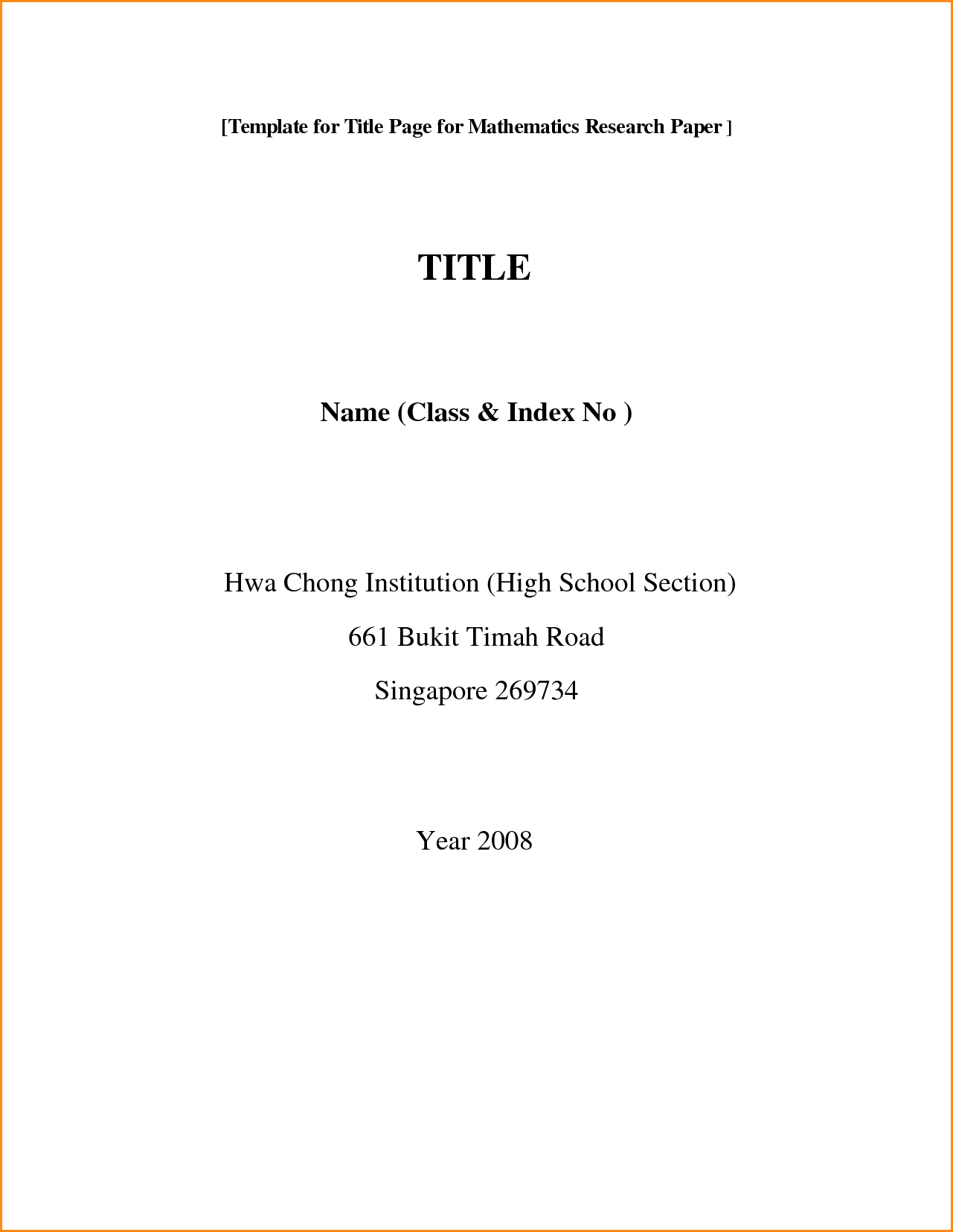 001 Front Page Of Research Paper Format Rare Cover First Mla Chicago Style Title For High School Full