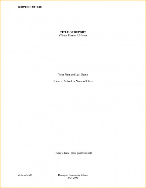 001 Front Page Research Paper Format Of Striking Title Chicago For High School Mla Style 480
