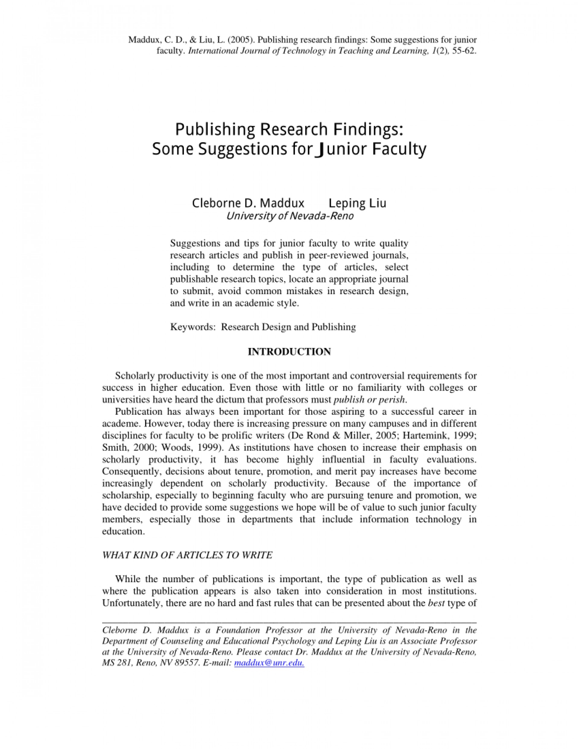 001 How To Publish Research Paper Without Professor Striking A 1920