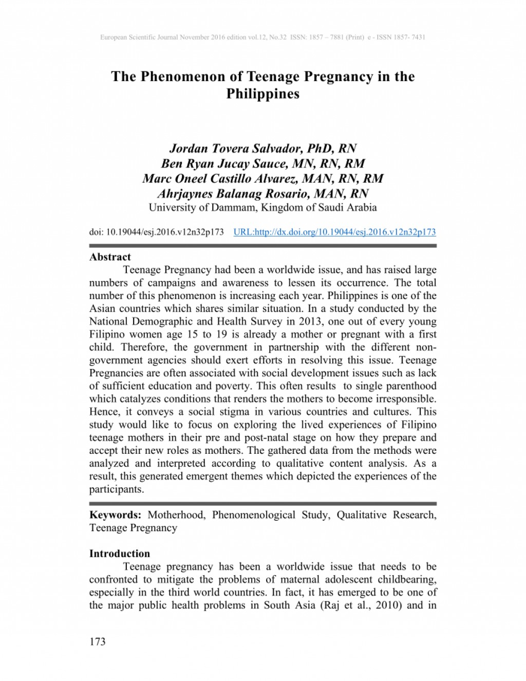 001 Introduction Of Research Paper About Teenage Pregnancy In The Philippines Wondrous A Large