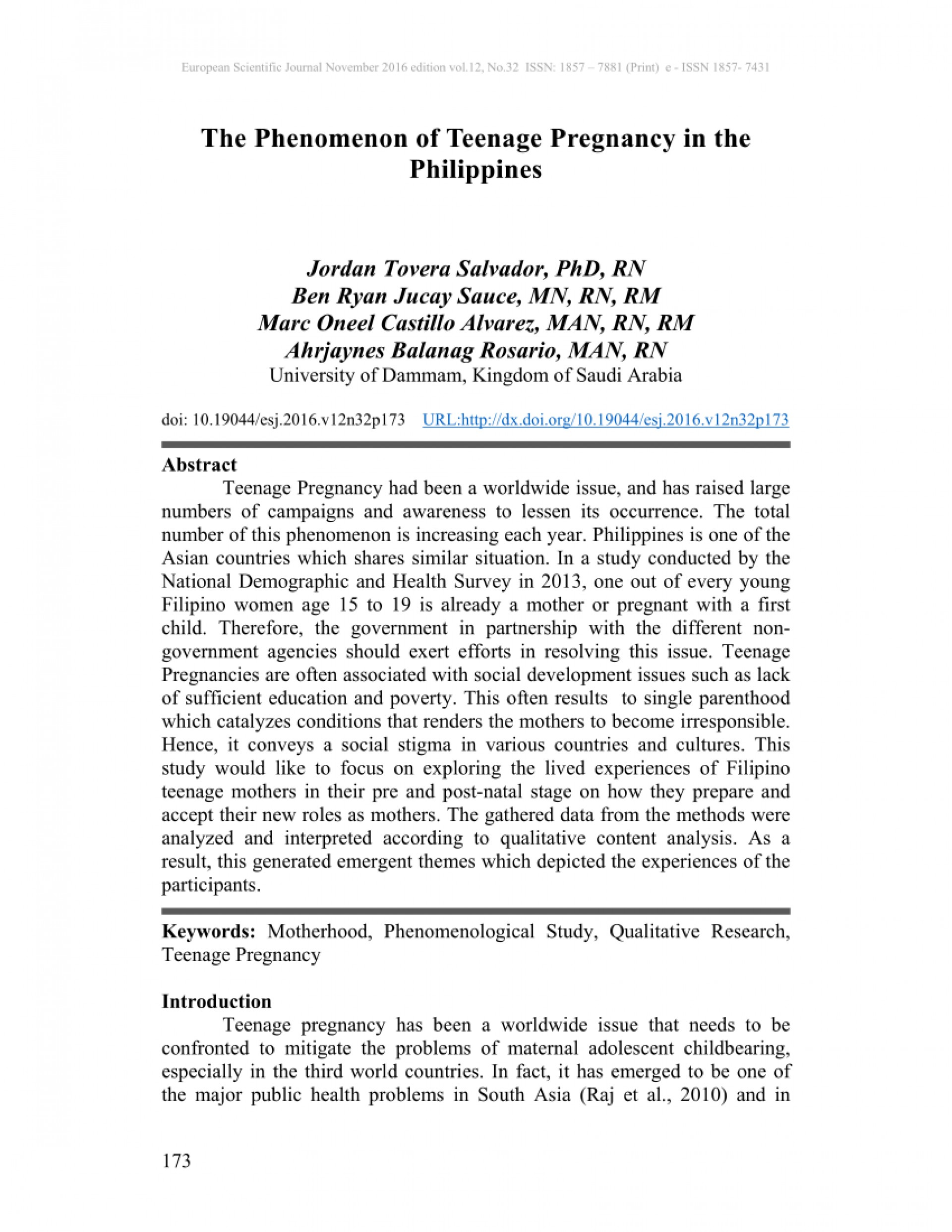 001 Introduction Of Research Paper About Teenage Pregnancy In The Philippines Wondrous A 1920