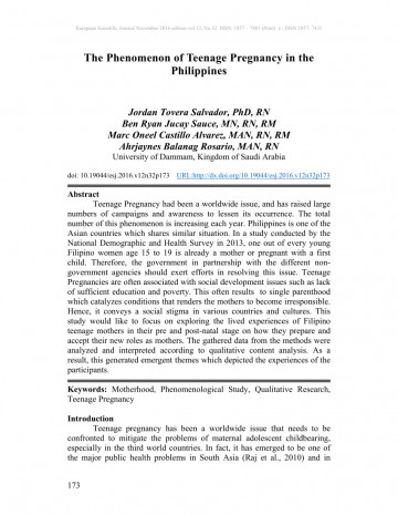 001 Introduction Of Research Paper About Teenage Pregnancy In The Philippines Wondrous A 360