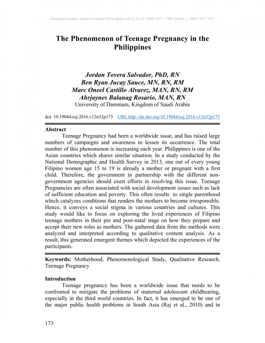 001 Introduction Of Research Paper About Teenage Pregnancy In The Philippines Wondrous A