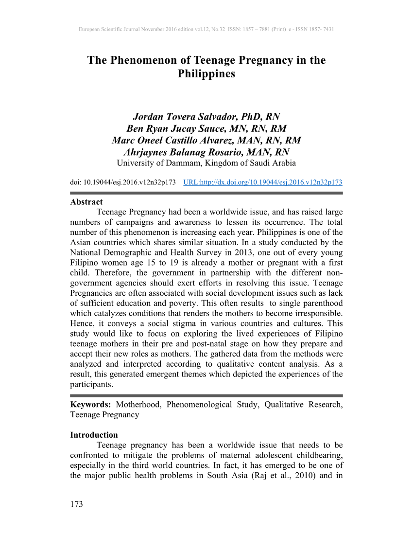 001 Introduction Of Research Paper About Teenage Pregnancy In The Philippines Wondrous A Full