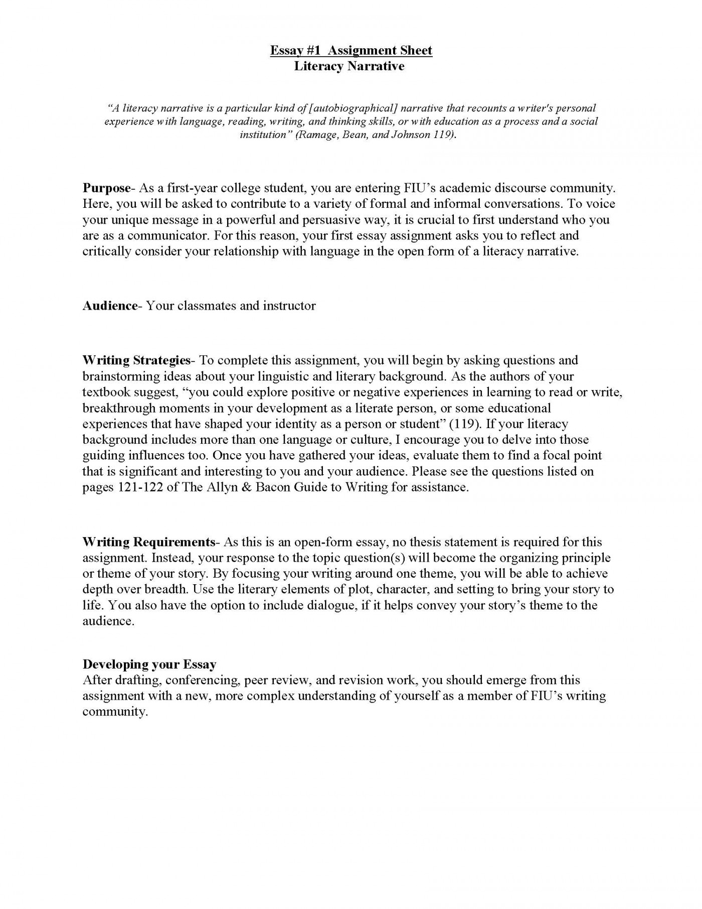 001 Literacy Narrative Unit Assignment Spring 2012 Page 1 Research Paper Personal Essay Wonderful Topics 1400