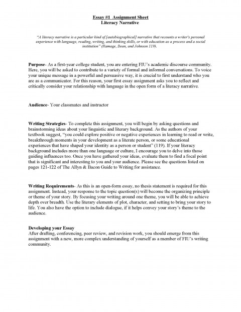 001 Literacy Narrative Unit Assignment Spring 2012 Page 1 Research Paper Personal Essay Wonderful Topics 480