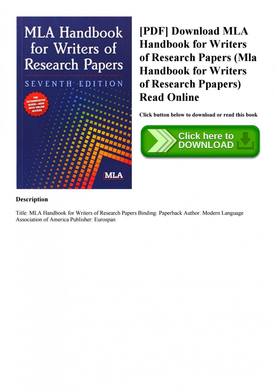 001 Mla Handbook For Writing Research Papers Pdf Paper Page 1 Beautiful Writers Of 5th Edition 7th Free Download 960