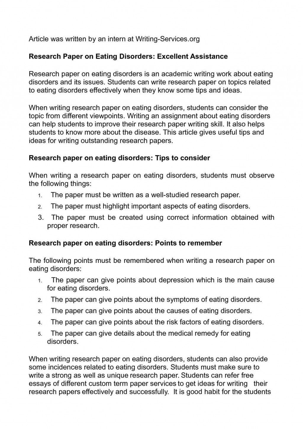 001 P1 Research Paper On Eating Wonderful Disorders Topics Articles And The Media Large