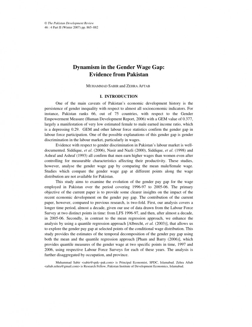 001 Pay Gap Research Paper Top Gender In India Wage Outline
