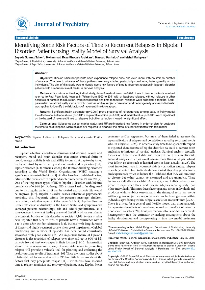 001 Research Articles On Bipolar Disorder Paper Outstanding Pdf