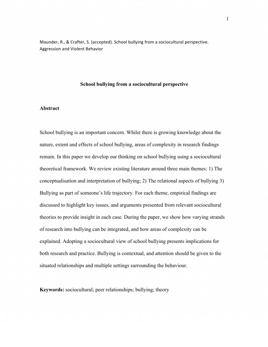 001 Research Paper Abstract About Bullying Formidable Large