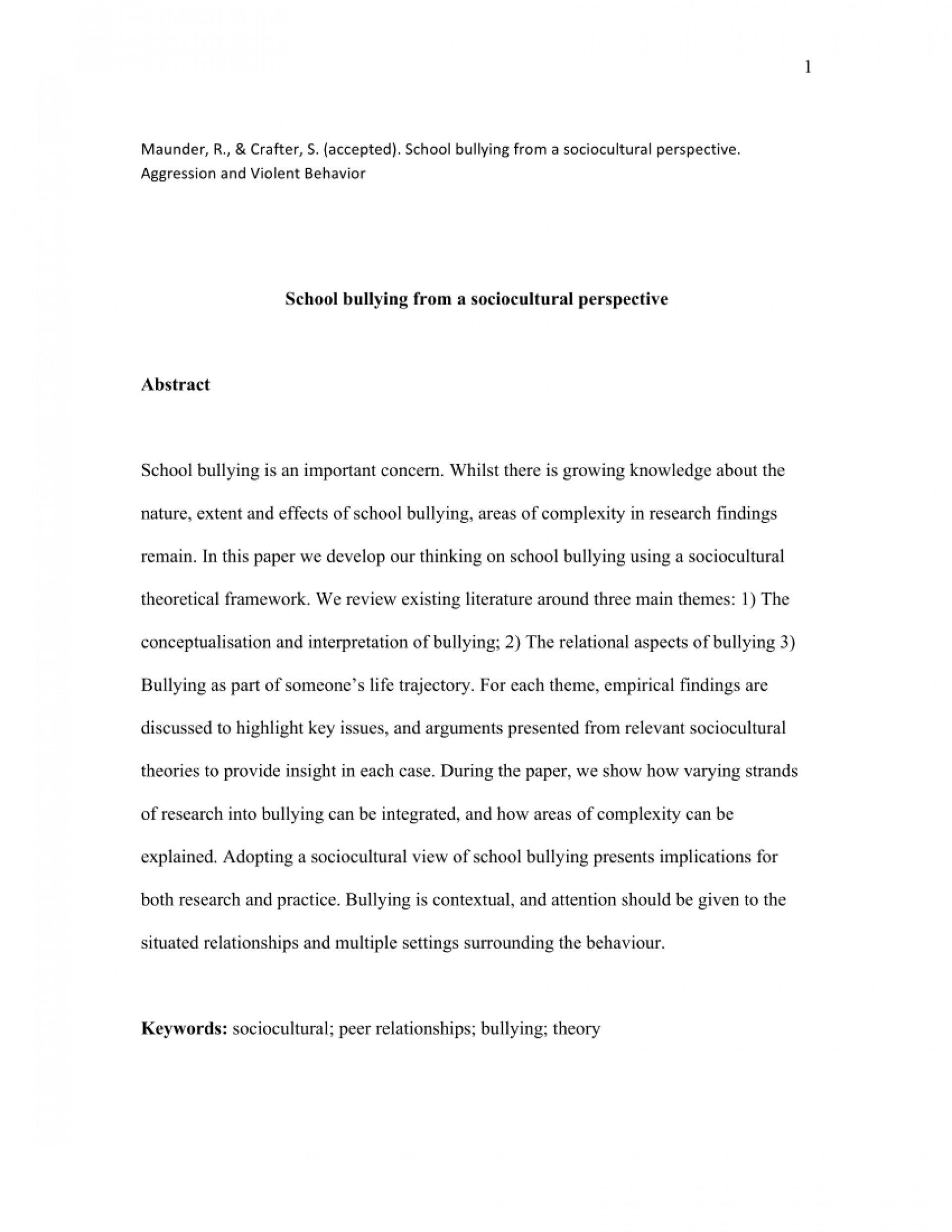 001 Research Paper Abstract About Bullying Formidable 1920