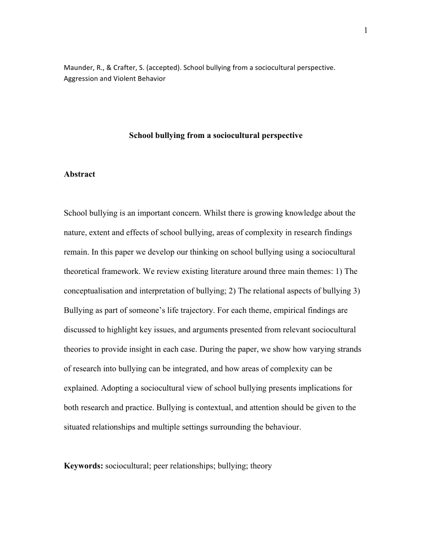 001 Research Paper Abstract About Bullying Formidable Full