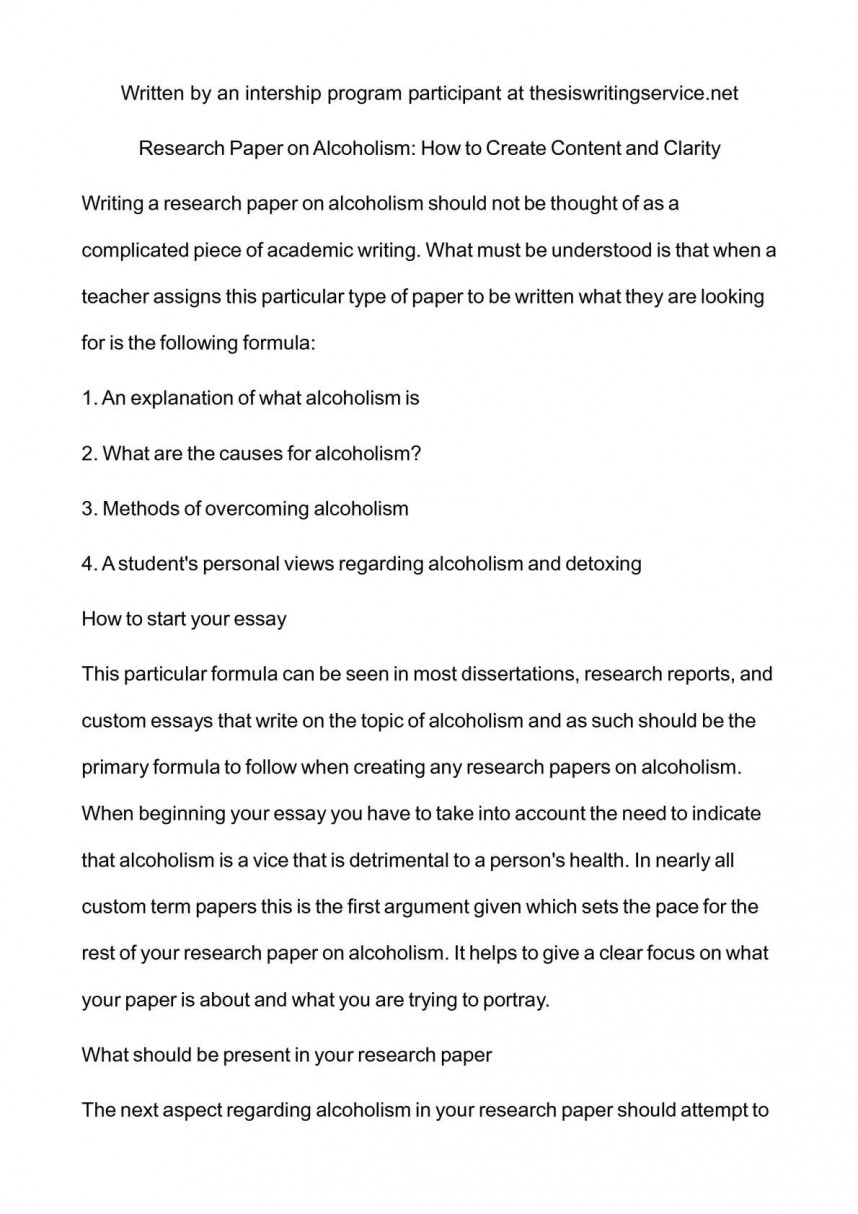 001 Research Paper Alcoholism Unbelievable Drinking Water On Packaged Topics