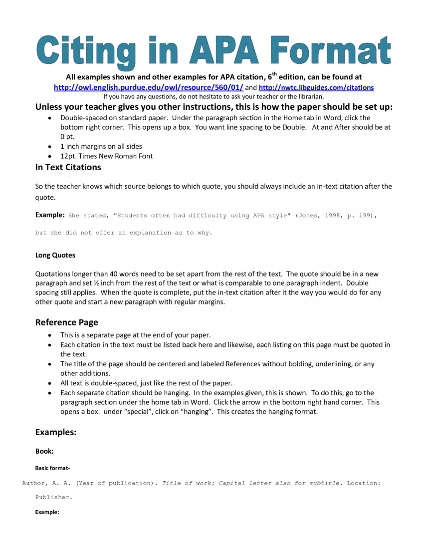 001 Research Paper Apa Citation Style Format Shocking Model