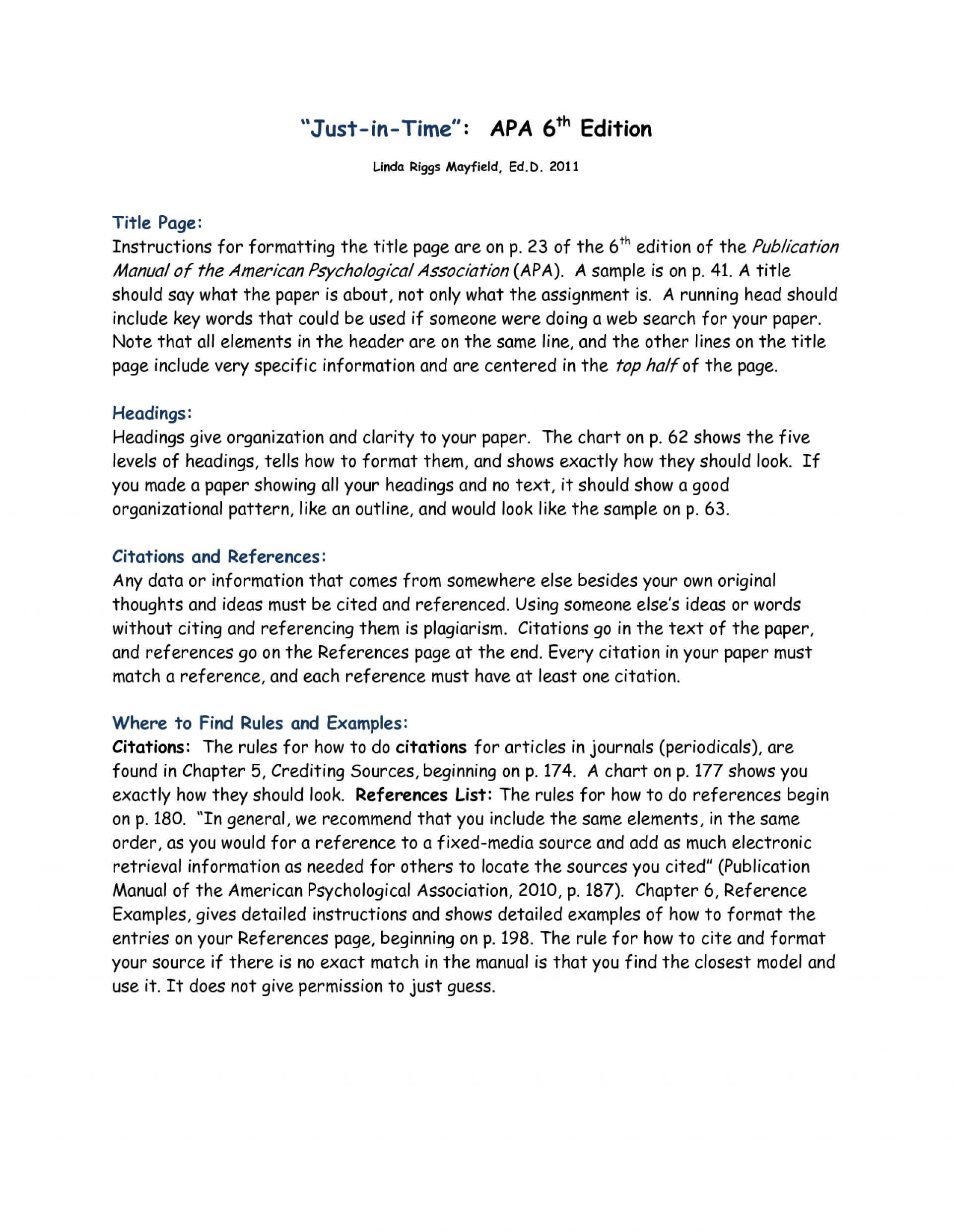 001 Research Paper Apa Format Example 6th Edition Archaicawful Sample 2015 1920