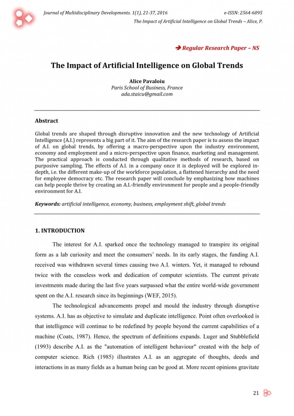 001 Research Paper Artificial Intelligence Papers Singular 2016 Large