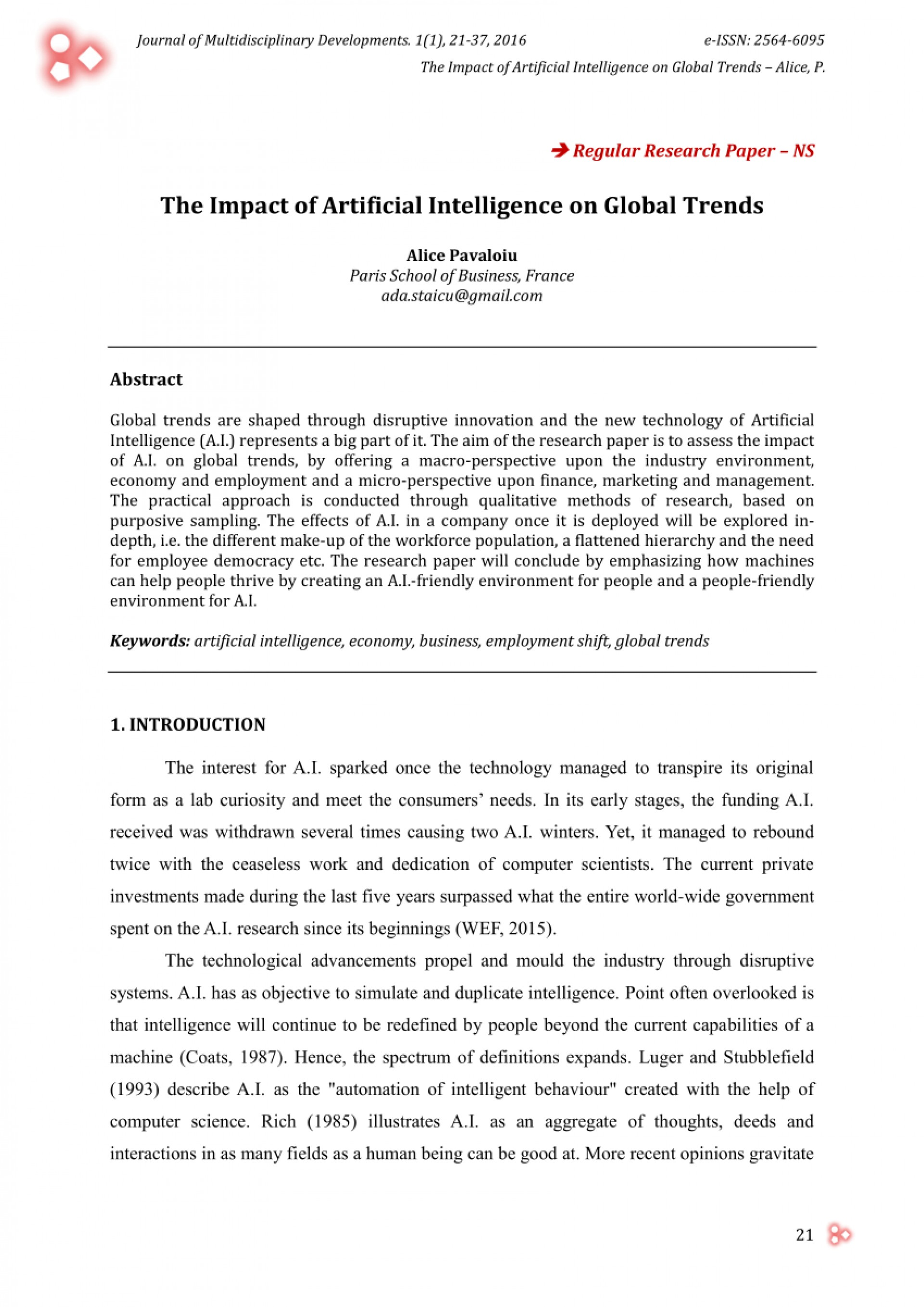 001 Research Paper Artificial Intelligence Papers Singular 2016 1920