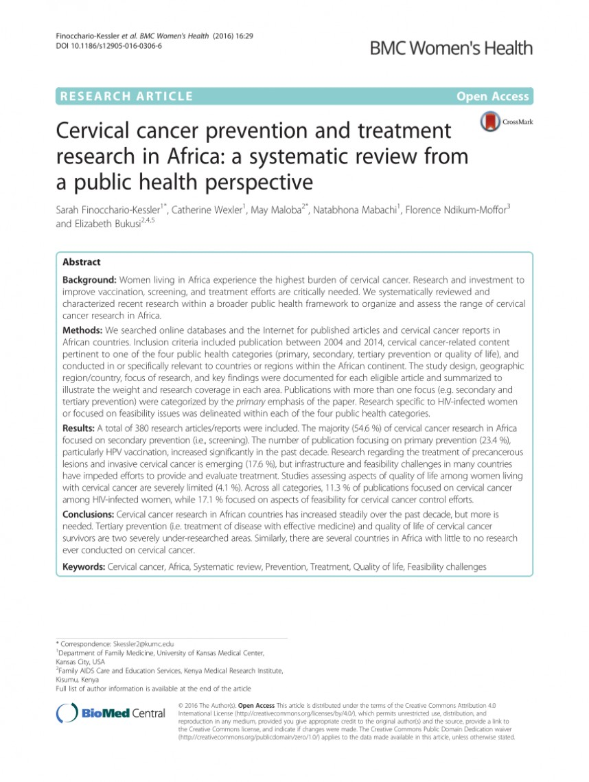 001 Research Paper Cervical Cancer Pdf Wondrous 868