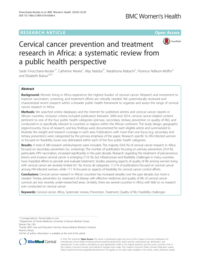 001 Research Paper Cervical Cancer Pdf Wondrous Full