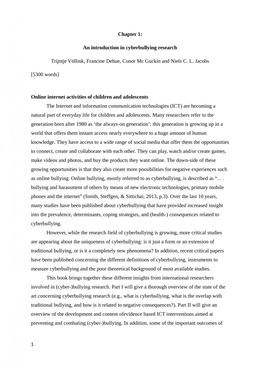 001 Research Paper Cyberbullying Introduction Magnificent Summary About Cyber Bullying