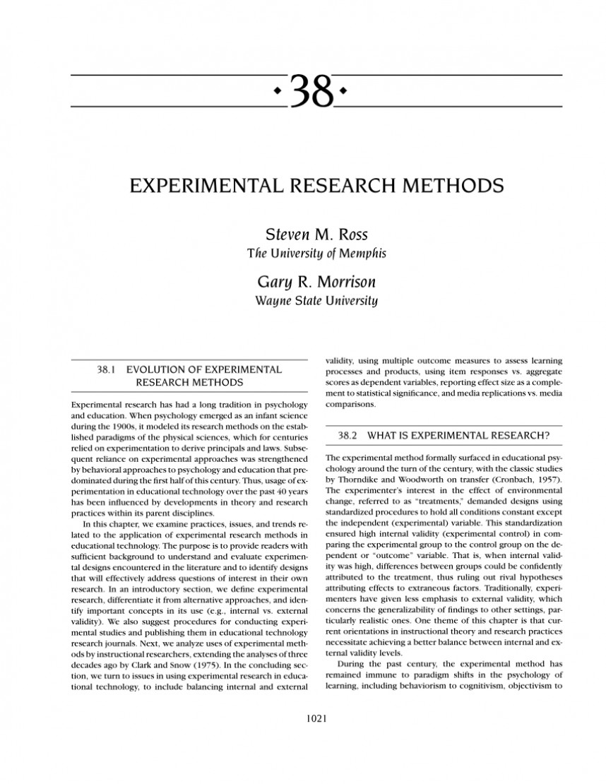 001 Research Paper Example Of Methodology In Experimental Imposing