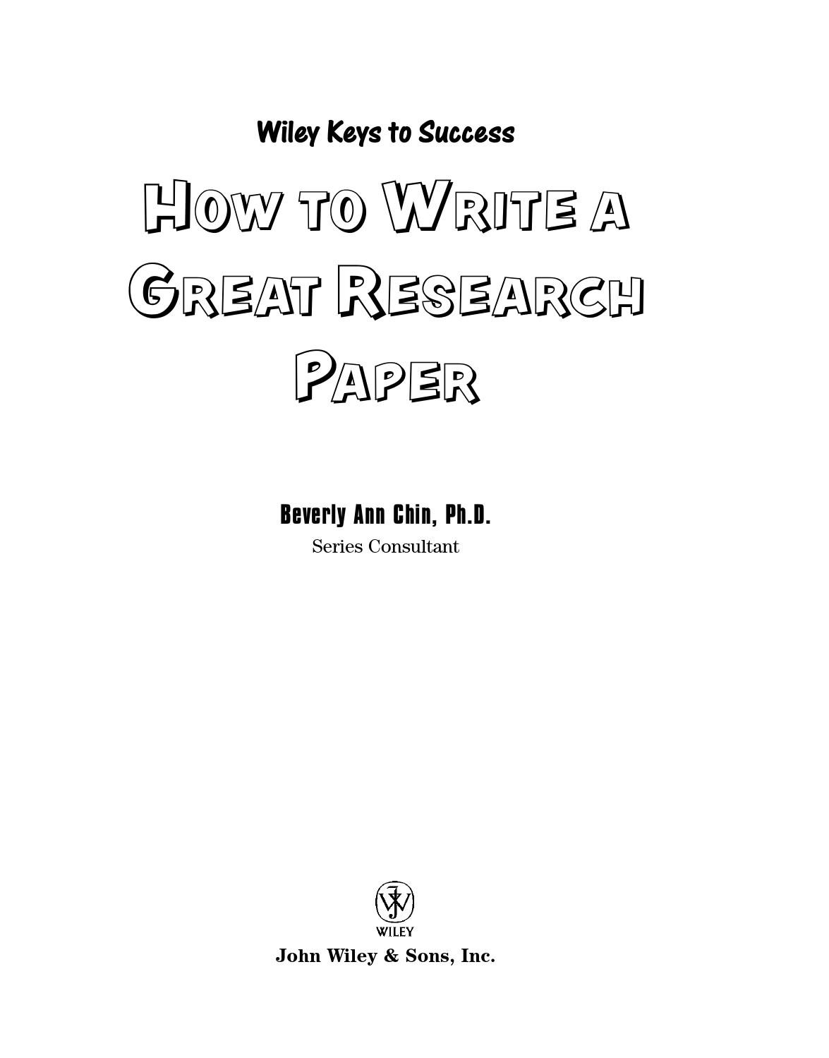 001 Research Paper How To Write Great Wiley Keys Success Page 1 Archaicawful A (wiley Success) Full