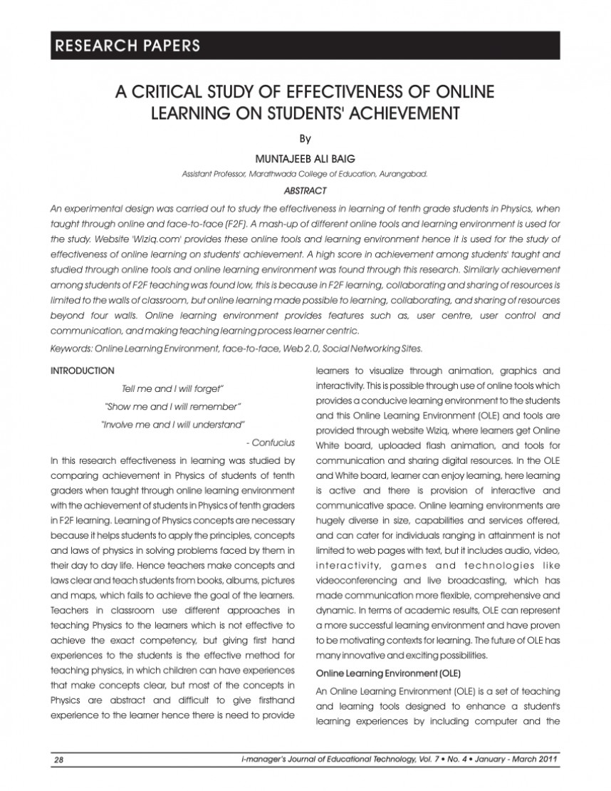 001 Research Paper Largepreview Effectiveness Of Online Amazing Education