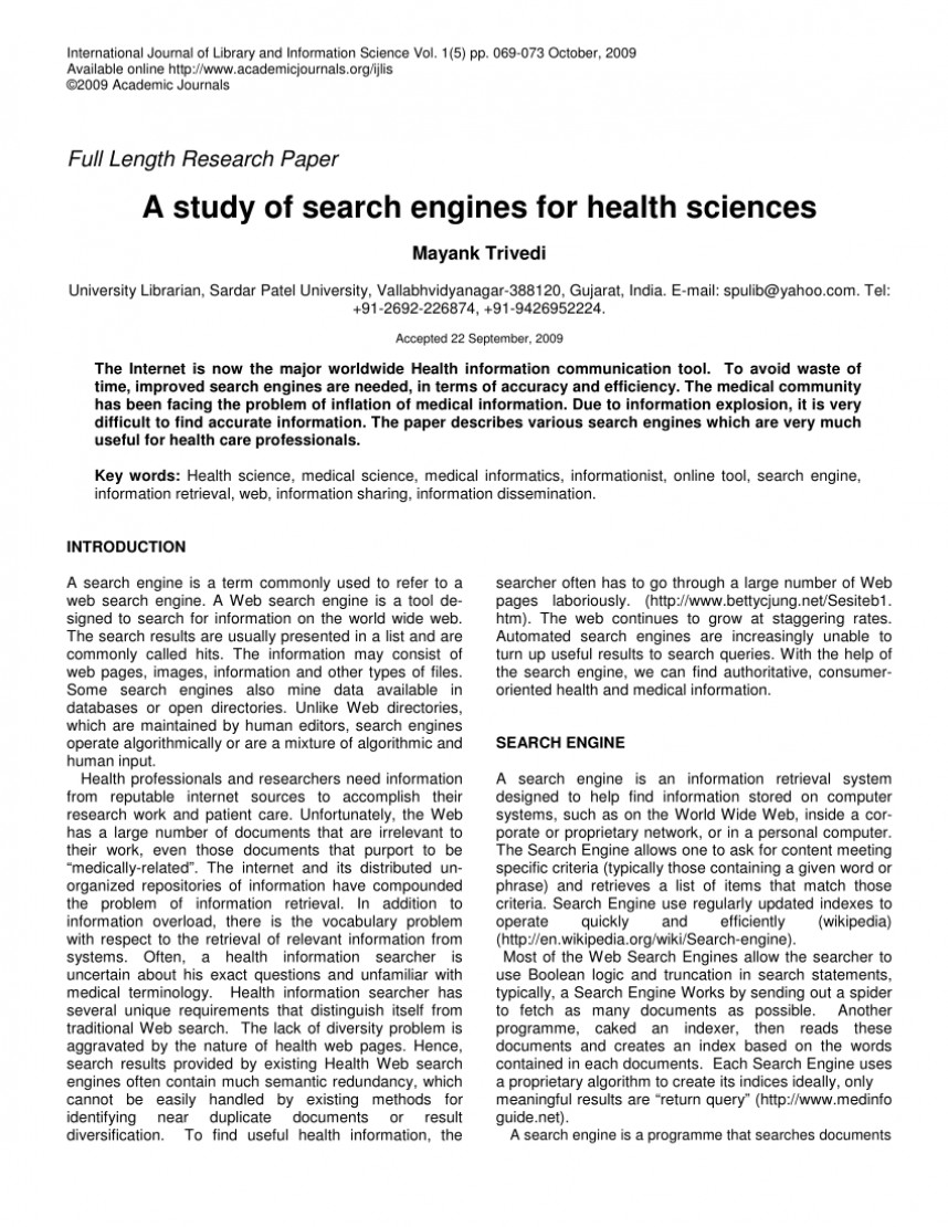 001 Research Paper Medical Search Engines Dreaded