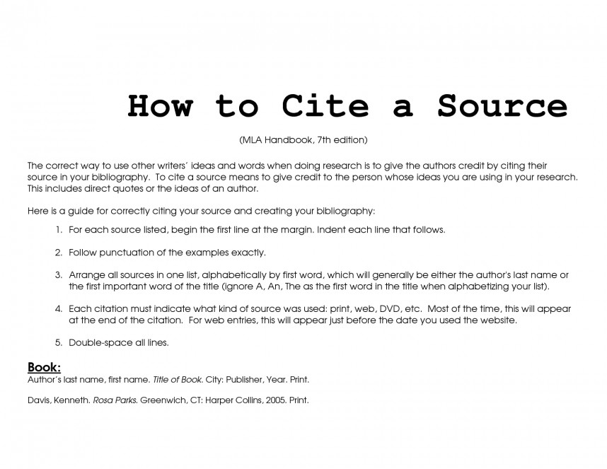 001 Research Paper Mla Citing Sources Unusual In How To Cite A Source Format