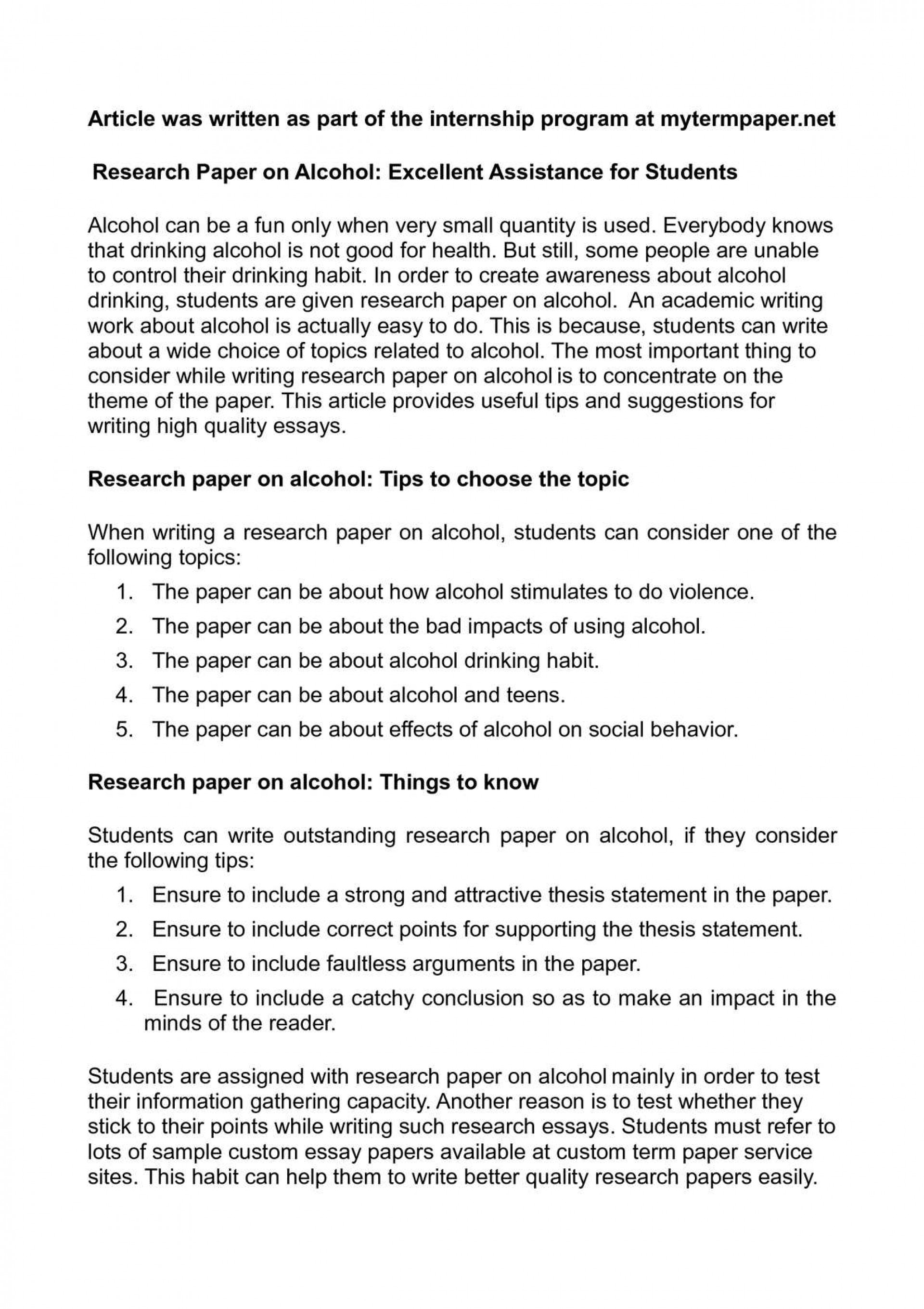 001 Research Paper On Alcohol Awesome Alcoholism And Family Articles Sample Substance Abuse 1920