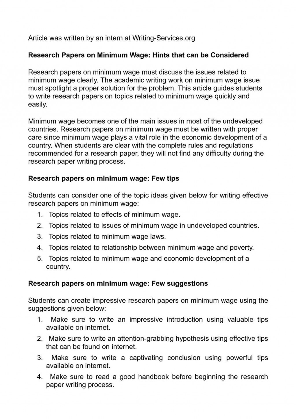 001 Research Paper P1 Minimum Wage Astounding Topics Large