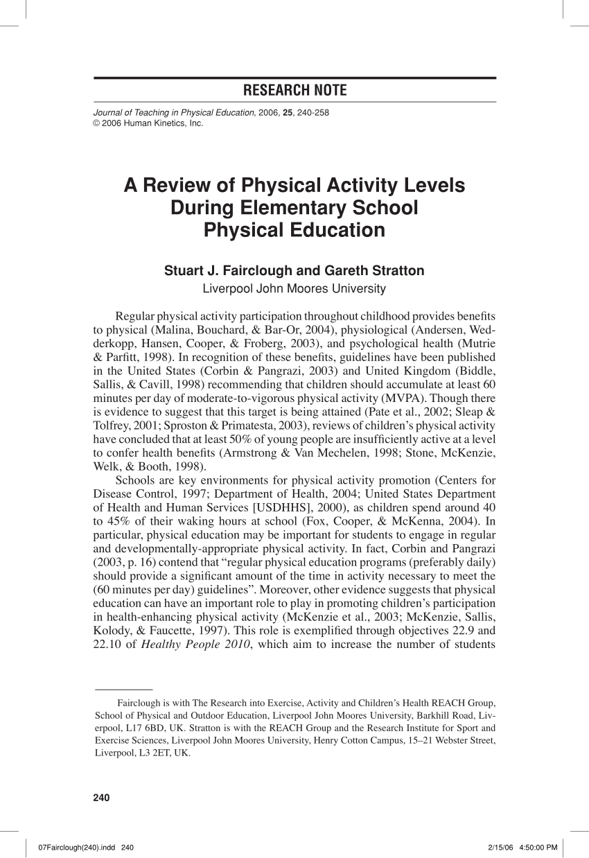001 Research Paper Physical Education Papers Imposing Title Rubric Thesis Pdf Full